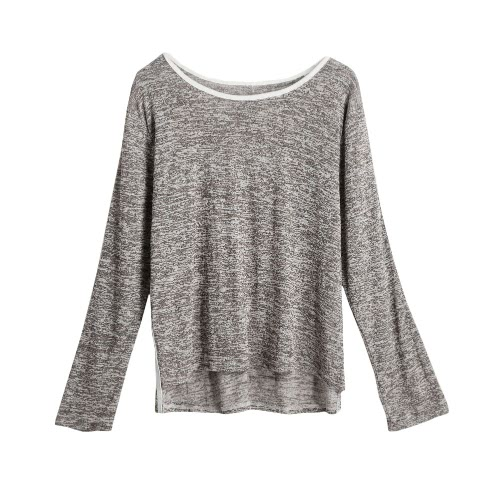 New Fashion Women Contrast Trimmings T-Shirt Round Neck Irregular Hem Long Sleeve Tops Coffee