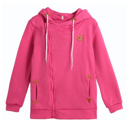 New Women Sweater Hooded Solid Long Sleeve Zipper Pockets Top Casual Warm Hoodies