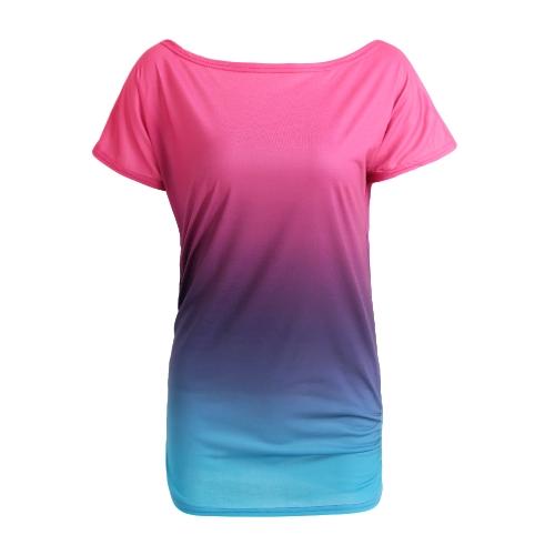 Mujeres Nueva camiseta de la manera pendiente del arco iris rizado O-cuello manga corta Casual Tees Top