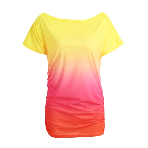 New Fashion Women T-Shirt Rainbow Gradient Ruffled O-Neck Short Sleeve Casual Tees Top
