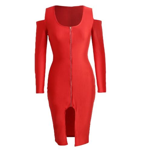Las nuevas mujeres de Bodycon del vestido de frente de cremallera de apertura Cold Shoulder partido largo mangas vestido Negro / Azul real / rojo