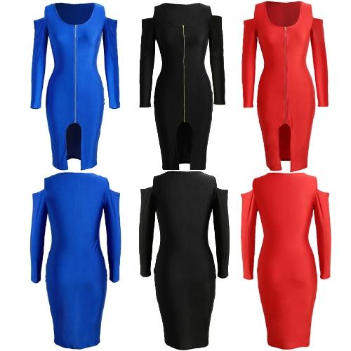 TOMTOP / Las nuevas mujeres de Bodycon del vestido de frente de cremallera de apertura Cold Shoulder partido largo mangas vestido Negro / Azul real / rojo