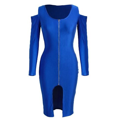 New Moda feminina Bodycon Vestido Frente Zip Abertura Fria ombro mangas compridas vestido de festa preto / Royal azul / vermelho