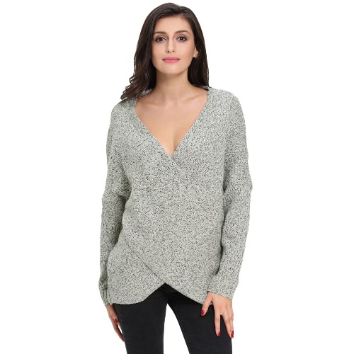 New Fashion Sweater Mulheres Cross-Frente Batwing Sleeve V-Neck malha Top Cinza