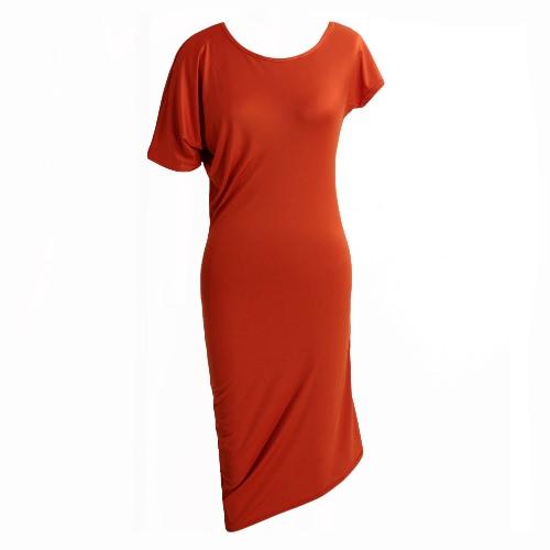 Las nuevas mujeres atractivas del partido de verano de la manga vestido de cuello redondo manga corta del club nocturno de cóctel mini vestido naranja / verde del ejército / Negro
