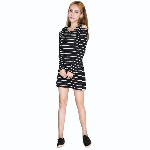 Las nuevas mujeres mini vestido rayas cortaron el hombro frío O-cuello de manga larga vestido ocasional / Azul oscuro Negro