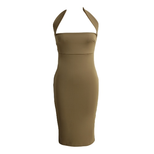 Nowy Sexy Women Sukienka Cut Out Back Off Shoulder Halterneck płaszcza BODYCON Club Party Dress