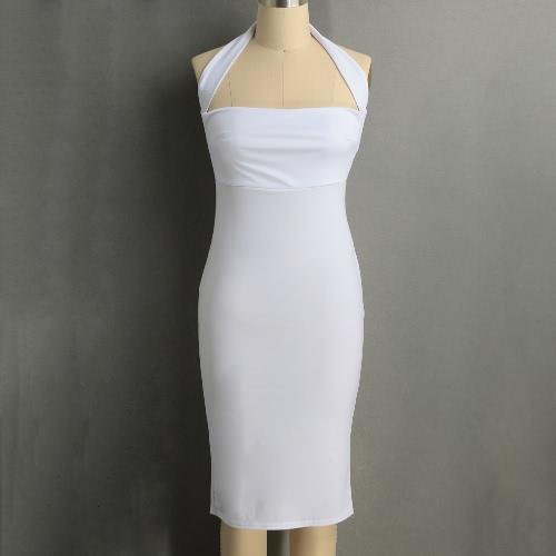 Nuevo mujeres atractivas vestido Recortable Volver Hombro Vestido de espalda escotada de la envoltura del club del partido de Bodycon
