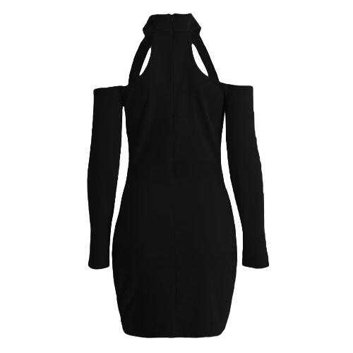 Nowa Seksowna Sukienka Kobiety BODYCON Wysoka Neck Cut Out Off Shoulder Party długim rękawem Clubwear Mini suknia
