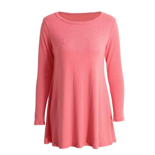 Outono Mulheres manga comprida básica solto vestido curto Sólidos O-Neck Vestido Solto melancia vermelho / azul