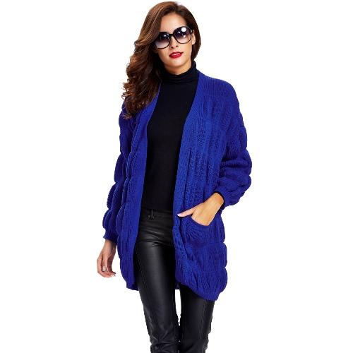 New Winter Women Knitted Cardigan Open Front Lantern Sleeves Side Pockets Long Outwear Yellow/Blue/Black