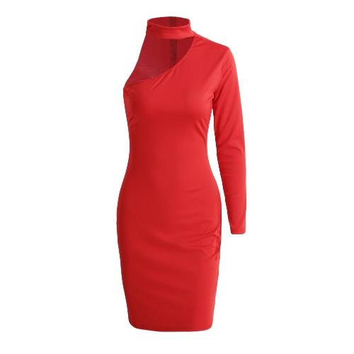 Neue reizvolle Frauen-Minikleid ein Schultergurt Halfter Langarm BodyCon Nachtclub-Party-Bleistift-Kleid
