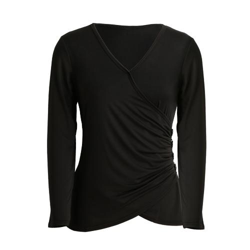 Forme a mujeres con pliegues camiseta Botón V frontal del cuello de manga larga de la Cruz favorecedor de la cintura Casual Top del Negro / gris / púrpura