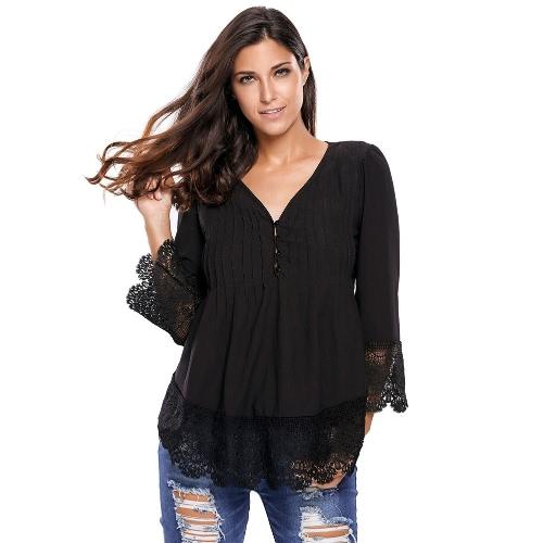 Nuevo botón atractivo de las mujeres ata para arriba la blusa de cuello en V profundo de los plisados de ganchillo Hem 3/4 manga sueltos en la tapa de la blusa de señora