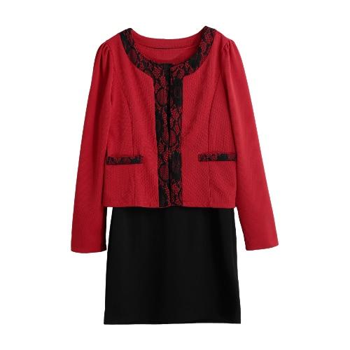 Fashion Women Two-Piece Set Tank Dress Lace Zipper Mini Dress Pocket Button Blazer Jacket Elegant Set Yellow/Red/Pink