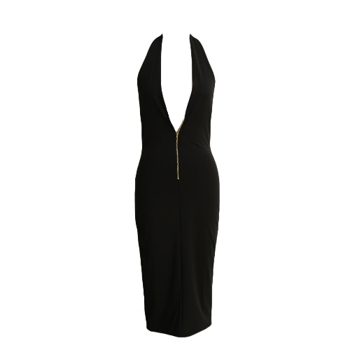 Front Zipper Deep V-Neck Backless Bodyocn Dress
