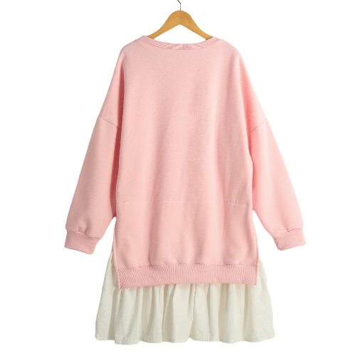 New Fashion Women Dress Faux Two-Piece Pleated Hem Splicing O-Neck Long Sleeve Hoody dress Grey/Pink