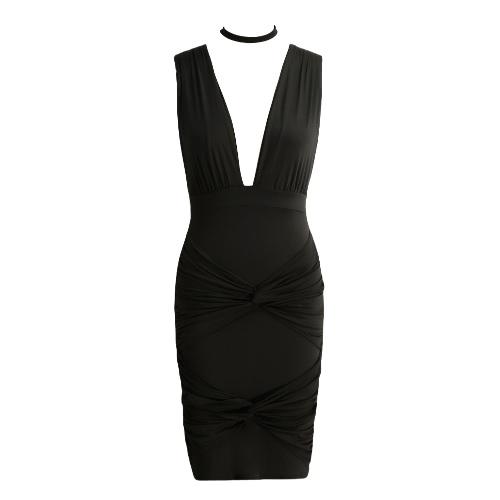 Nowy Sexy Women Sukienka Głębokie V-Neck Collar Twist Bandaż V Powrót Klub Party Dress Mini Purpurowy / Czarny