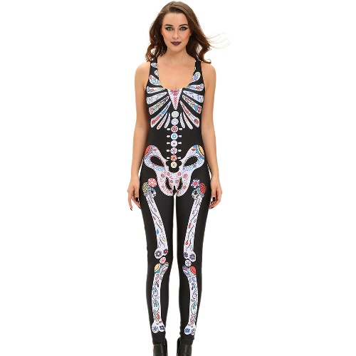 Halloween Women Catsuit Costume Jumpsuit Crânio de esqueleto mangas sem mangas Tank Playsuit Night Club Rompers Preto