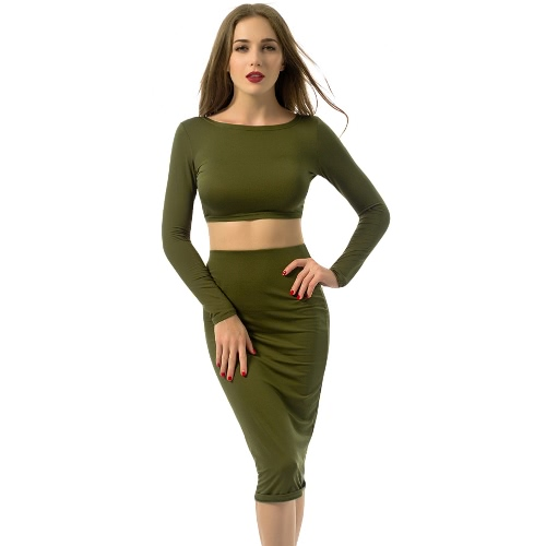 Mulheres Sexy Dois Set Pieces Open Back Criss Cross Long Sleeve Top Curto Bodycon Pencil Skirt Set Exército Verde