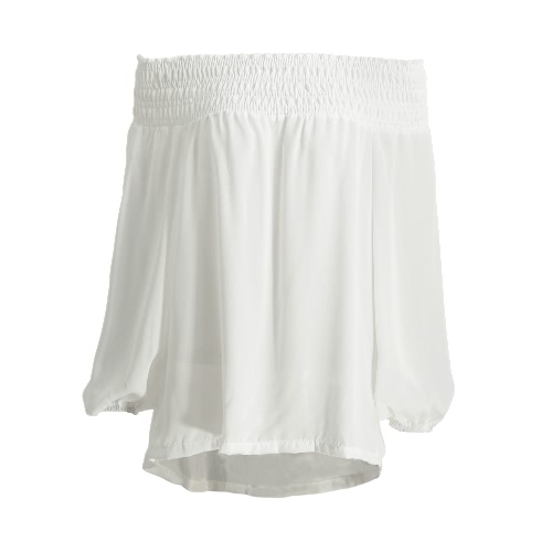 New Women Chiffon Off-Shoulder Blouse Elastic Slash Neck Dip Hem Loose Casual Top White