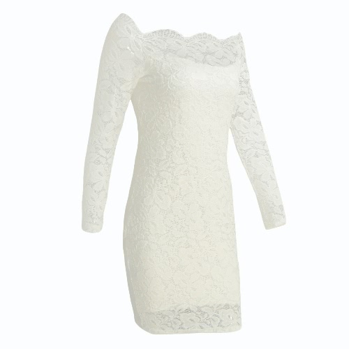 Tomtop coupon: Sexy Women Mini Dress Bodycon Floral Lace Long Sleeves Off Shoulder Lining Elegant Party Dress Black/White
