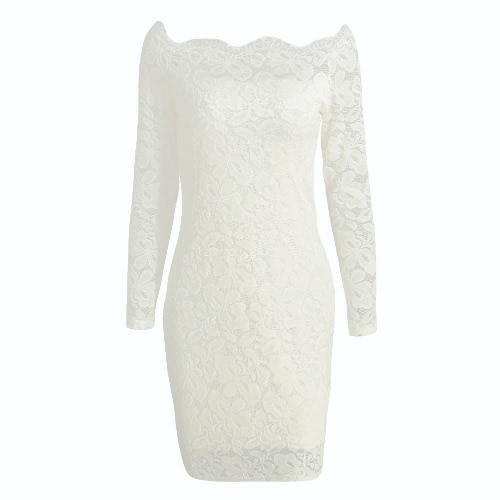 Sexy Frauen-Minikleid Bodycon Blumenspitze mit langen Ärmeln Schulterfrei Futter elegantes Party-Kleid Schwarz / Weiß