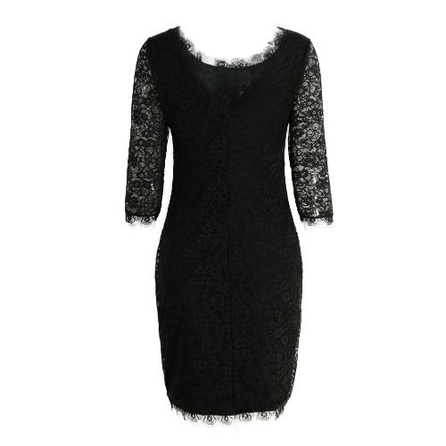 New Sexy Women Lace Bodycon Dress O Neck Three Quarter Sleeve Solid Sheath Evening Party Mini Dress Black/ Green