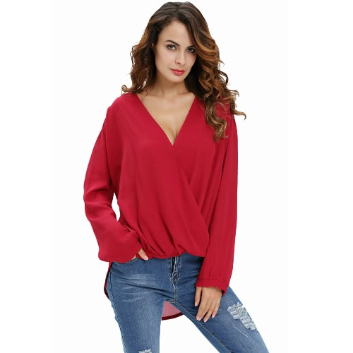 New Sexy Women Crochet Back Chiffon Blouse V-Neck Long Sleeve Asymmetric Hem T-Shirt Top