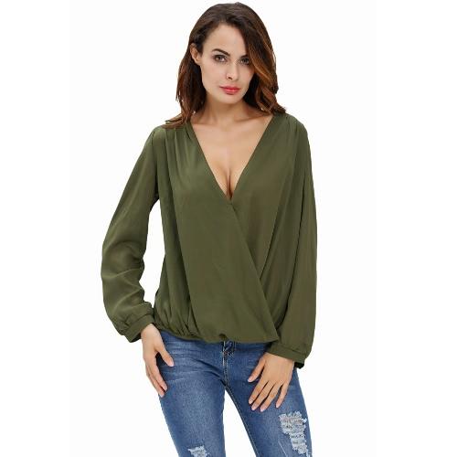 Nuevo atractivo de las mujeres de ganchillo Volver blusa de gasa con cuello en V manga larga dobladillo asimétrico de la camiseta Top