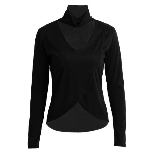 Neue Art und Weise Frauen-T-Shirt Mock Neck Sexy V-Ausschnitt Ausschnitt bei Bust Dip Hem Long Sleeves Grau / Schwarz