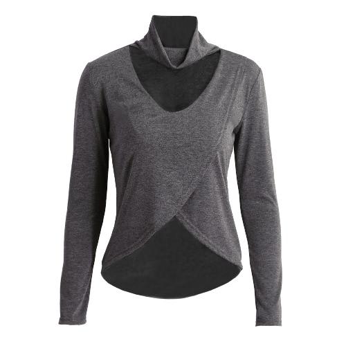 Mujeres Nueva camiseta de la moda Medio Cuello atractivo escote en V de recorte en Busto Hem Dip de manga larga Gris / Negro