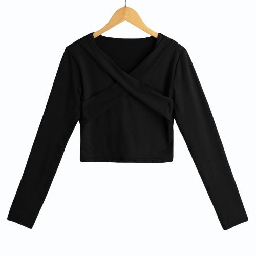 New Sexy Women Solide Crop Top Bluse Querverband mit V-Ausschnitt mit langen Ärmeln Pullover beiläufige kurze Hemd