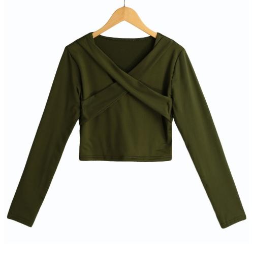Nuevo mujeres atractivas Crop sólido blusa superior del vendaje cruzado con cuello en V manga larga Suéteres ocasional de la camisa corta