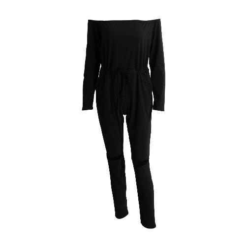 Neue Art und Weise Frauen One-Piece-Overall weg von der Schulter-Boot-Ausschnitt Gelegenheits Bodysuit elastische Taillen-Ausschnitt Langarm-Verein Overall Strampler