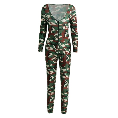 Nowy Sexy Kobiety Kombinezon Camouflage Print V Neck z długim rękawem BODYCON Playsuit pajacyki body zieleń wojskowa