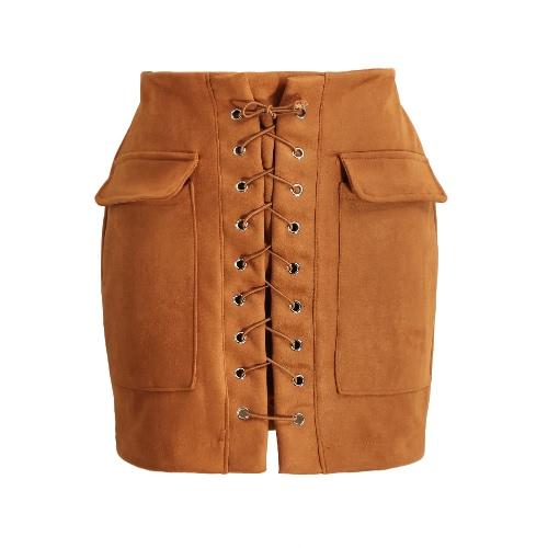 Fashion Frauen schnüren sich oben Veloursleder-Rock mit hoher Taille Weinlese-Taschen Preppy Bodycon Kurzbleistiftrock