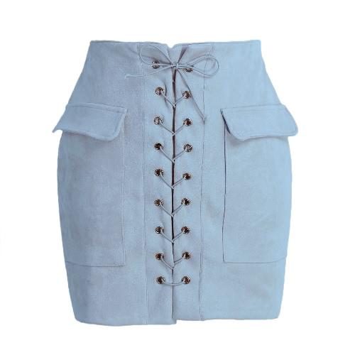 Mulheres Moda Lace Up camurça de couro saia de cintura alta bolso do vintage formal Bodycon Curto Pencil Skirt