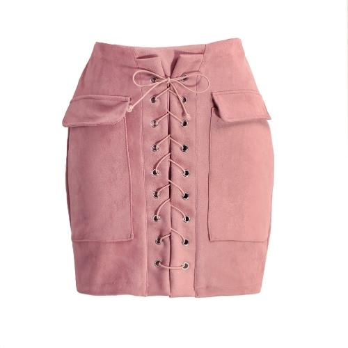 Manera de las mujeres ata para arriba Gamuza falda de talle alto bolsillo de la vendimia de muy buen gusto ajustado de la falda corta del lápiz