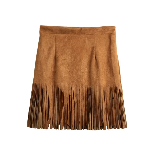 New Sexy Mulheres Suede Leather Skirt Tassel Zipper Elegant A-Line Mini Saia Khaki / Preto