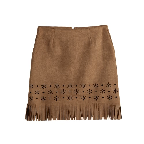New Sexy Mulheres Suede Leather Skirt Tassel oco Out Zipper Elegant A-Line Mini Saia roxo / preto / Camel