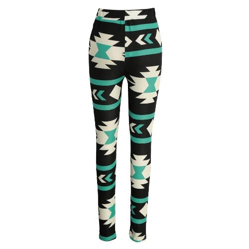 Polainas mujeres de la manera del color del contraste de impresión Pantalones Fitness Pulsómetros elástico pantalones cosechados yoga