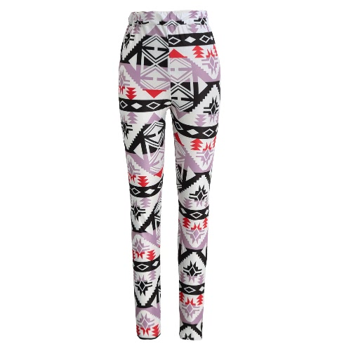Fashion Women Leggings Contrast Color Print Fitness Sports Pants Stretchy Cropped Yoga Trousers