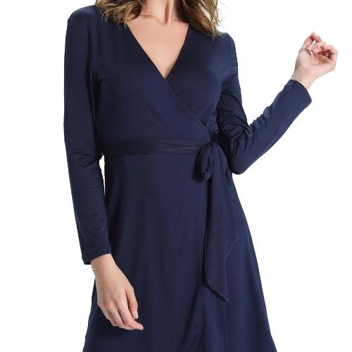 New Women Wrap-Around Dress Plunging V-Neck Open Front Side Tie Closure Dark Blue