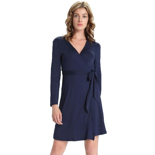 Nowy Kobiety Wrap-Around Sukienka Tłoczenie V-Neck Otwarty Front Side Tie Zamknięcie Ciemnoniebieski