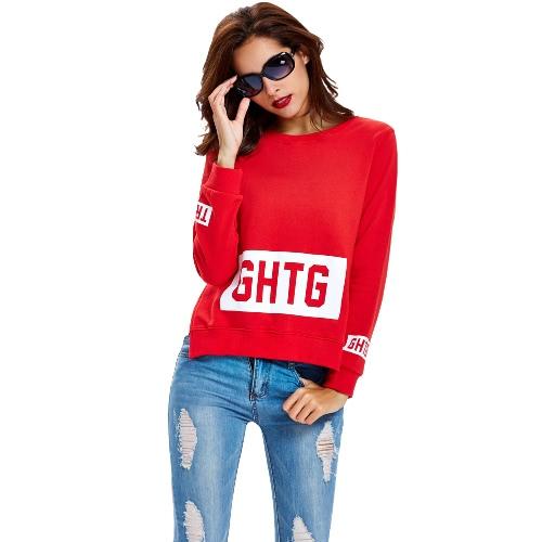 New Women Sweater Capuz Carta Imprimir O-Neck Side Dividir manga comprida Casual Quente Top Red