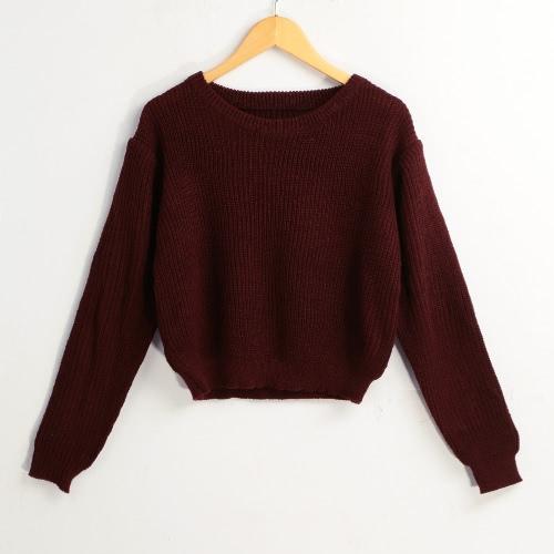 Nuevo invierno de las mujeres suéter de punto sólido O-Cuello de manga larga Suéteres elegante Tops Prendas de punto Borgoña
