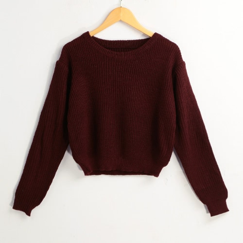 New Mulheres Winter camisola de malha Sólidos O-Neck mangas compridas pulôver elegante Tops Knitwear Burgundy