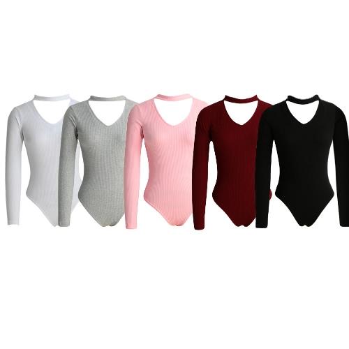 Сексуальные женщины Комбинезон ребристые Solid Color V-образным вырезом с длинными рукавами Zipper Бич Bodysuit Rompers фото