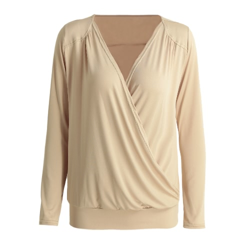 Frauen T-Shirt mit V-Ausschnitt mit langen Ärmeln Herbst Top Kreuz Solide dünne beiläufige T-Stück Spitze Beige / Rot / Schwarz